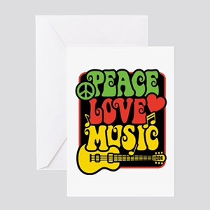 Rasta Peace Love Music Greeting Cards