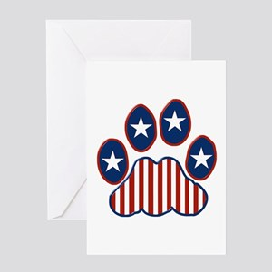 Patriotic Paw Print Greeting Card