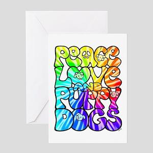 PeaceLovePuppyDogs2Tie-Dye Greeting Card