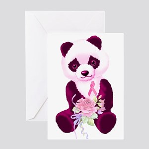 Breast Cancer Panda Bear Greeting Card