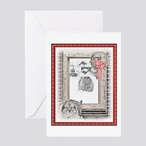 Keeshond Christmas Winter Window Greeting Card