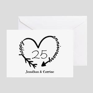 Custom Anniversary Doodle Heart Greeting Card