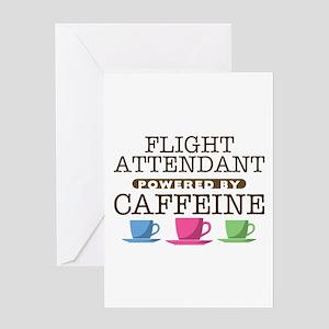 Flight Attendant Powered by Caffeine Greeting Card
