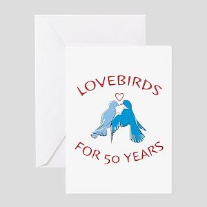 50th Anniversary Lovebirds Greeting Card