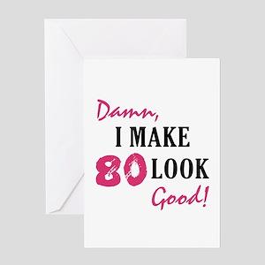 Hot 80th Birthday Greeting Card