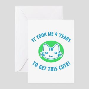 Cute 4th Birthday (Blue/Green) Greeting Card