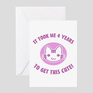 Cute 4th Birthday (pink) Greeting Card