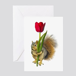 Squirrel Red Tulip Greeting Card