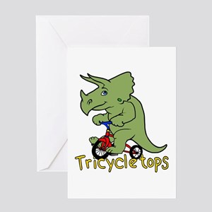 Triceratops Bicycle Greeting Cards