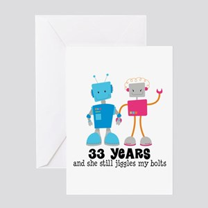 33 Year Anniversary Robot Couple Greeting Card