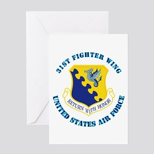 31st Fighter Wing with Text Greeting Card