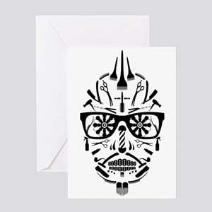 barbershop punk skull Greeting Cards