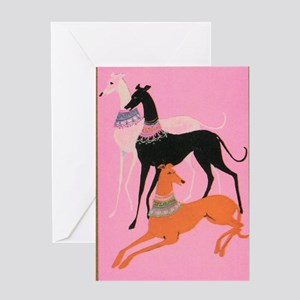 Greyhounds art deco  Greeting Card