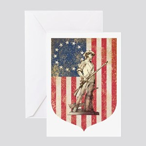 Concord Minuteman, Shield Greeting Cards