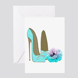 Turquoise Lace Stilettos and Rose Art Greeting Car