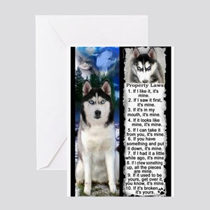 Siberian Husky Dog Laws Rules Greeting Cards