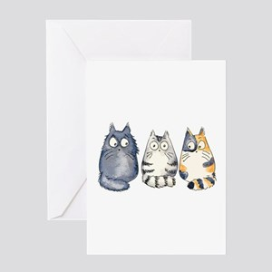Three 3 Cats Greeting Card