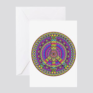 Peace Sign Mandala Greeting Cards
