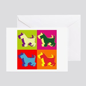 Scottish Terrier Silhouette Pop Art Greeting Card