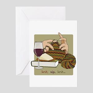 Knit Sip Knit Greeting Card (single)