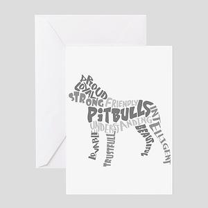 Pit Bull Word Art Greyscale Greeting Card