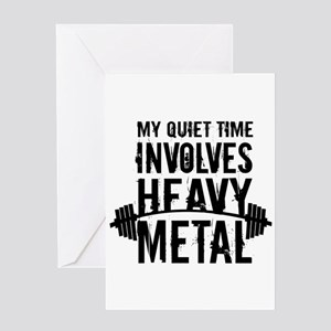 My Quiet Time Involves Heavy Metal Greeting Cards