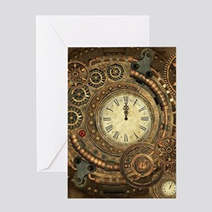 Steampunk, clockwork with gears Greeting Cards