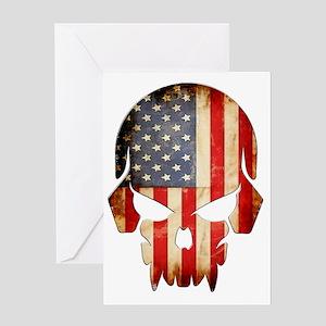 American Flag Skull Greeting Card
