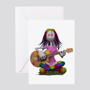Hippy Chick ~ Peace and Love Greeting Cards