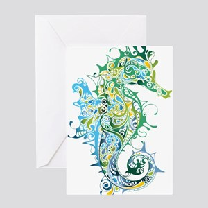 Paisley Seahorse Greeting Cards