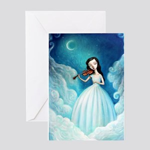 Girl with Moon and Violin Greeting Cards