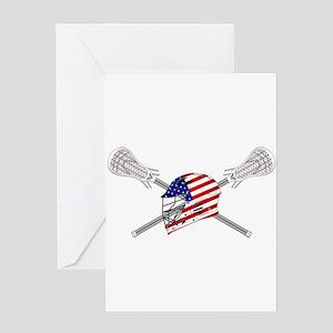 American Flag Lacrosse Helmet Greeting Cards