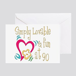 Lovable 90th Greeting Card