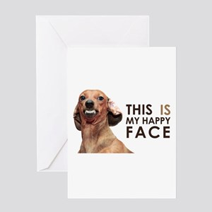 Happy Face Dachshund Greeting Card
