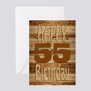 55th Birthday A carved wooden card. Greeting Cards