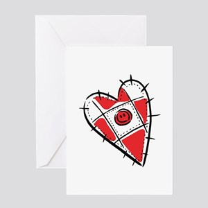 Cute Pin Cushion Patchwork Heart Design Greeting C