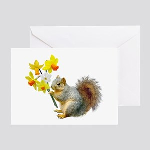 Squirrel Daffodils Greeting Card