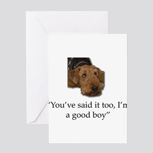 Sulking Airedale Terrier Giving Cut Greeting Cards