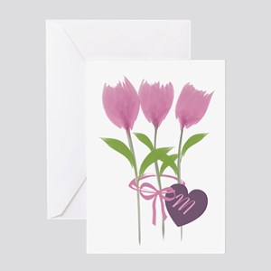 Pink Tulip Monogram Greeting Card