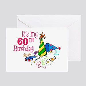 It's My 60th Birthday (Party Hats) Greeting Card