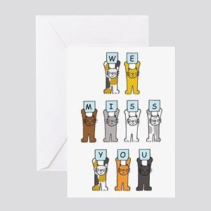 We miss you cartoon cats. Greeting Cards