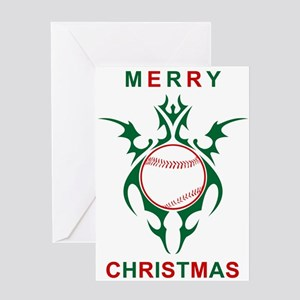 merry christmas baseball greetings Greeting Cards