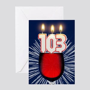 103rd birthday wine and birthday candles Greeting