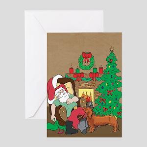 Santa Has A Dachshund Christmas Greeting Card