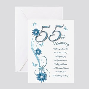 55th birthday in teal Greeting Card