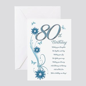 80th birthday in teal Greeting Card