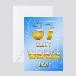 37th birthday beer Greeting Card