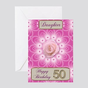50th Birthday, for daughter with a rose Greeting C