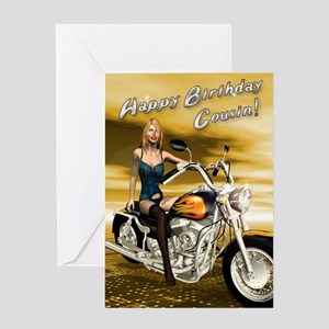 For cousin, a sexy girl on a chopper Greeting Card