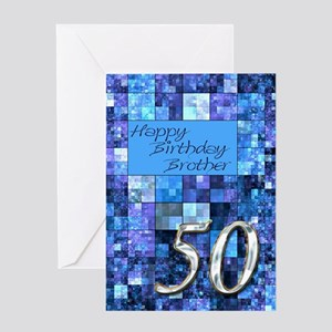 50th Birthday card for a brother,with abstract squ